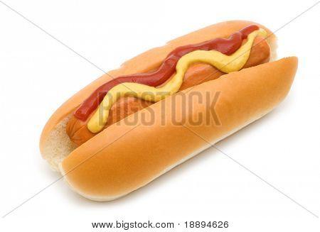perrito caliente con mostaza y ketchup