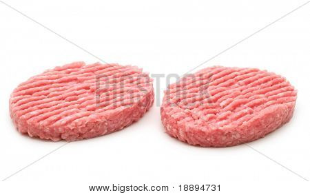 two raw minced beef steak