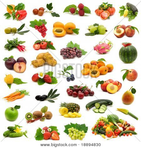 large page of bio fruits and vegetables on white background