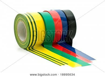 colorful insulating tape on white background