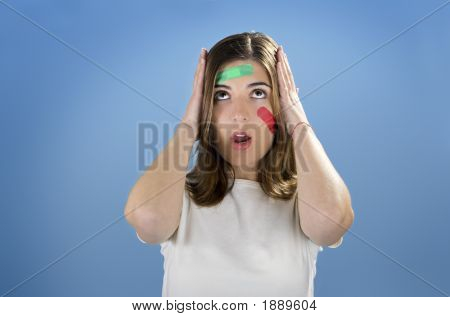 Worriend Woman With Bandages On The Face
