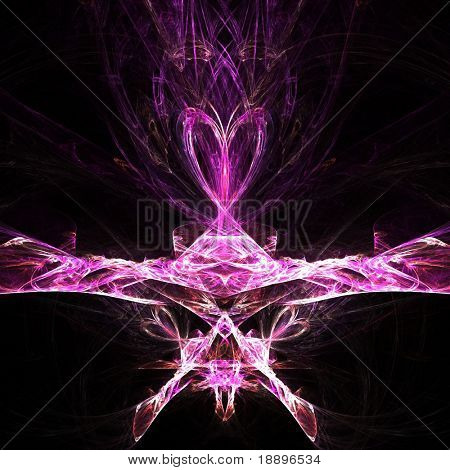 Fractal rendering of an abstract pink heart shaped jewel
