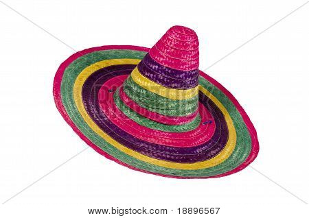 Multicolored sombrero on white background