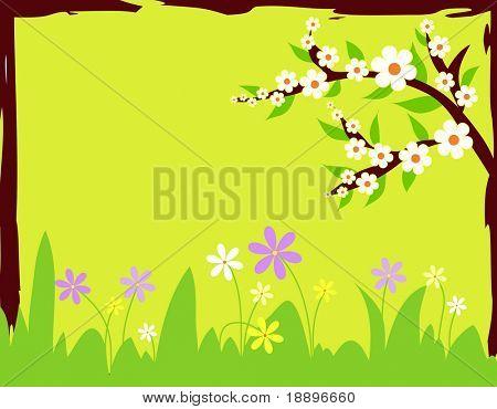 Ilustração de flores de primavera com borda grunge