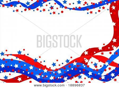 Celebration ribbons and stars in red , blue and white colors