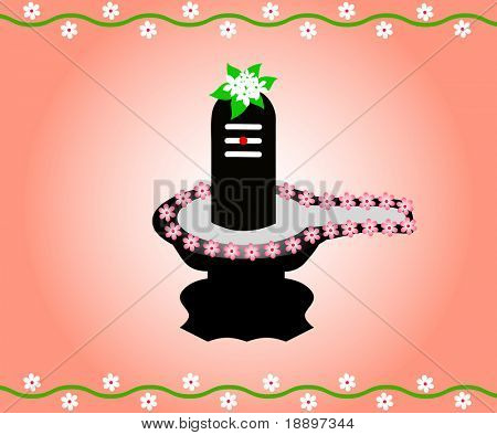 The Indian God Shivalinga decorated with flowers