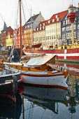 The Boats And Ships In Nyhavn, Copenhagen. poster