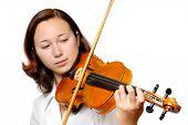 Постер, плакат: Девушка играет скрипка изолированных силуэт на белом фоне