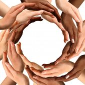 Conceptual symbol of multiracial human hands making a circle on white background with a copy space i