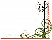 image of lamp post  - A decorative flourish surrounding a lamp post with grunge background - JPG