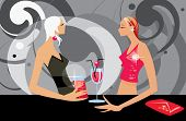 image of debauchery  - image of two talking women in bar - JPG