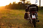 Classic Motorcycle At Sunset, poster