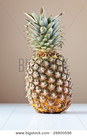 Pineapple On White With Brown Background
