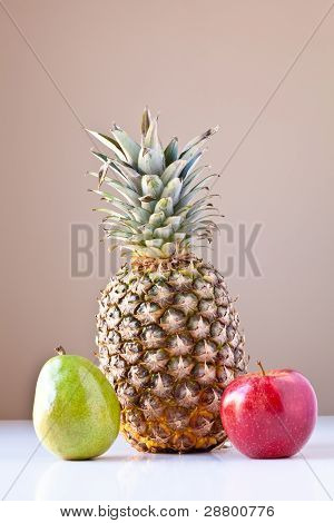 Pineapple, Green Pear And Red Apple