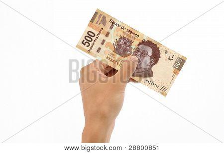 Hand Holding 500 Pesos Bill