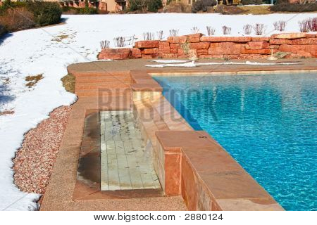 Outdoor Pool At A Resort In Winter