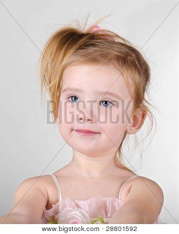 Portrait Of Little Girl Asking Something