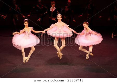 MOSCOW - MAR 17: Ballerinas at concert of Gennady Ledyakh School of Classical Dance in theater Et Cetera, on Mar 17, 2011, Moscow, Russia. Concert held for winners in competition on Russian language.