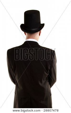 Man with top hat view from back