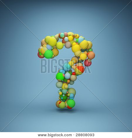 Abstract question mark made of color balls