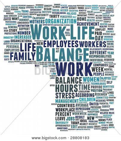 Palavra colagem de trabalho e equilíbrio de vida, espaço para seu texto