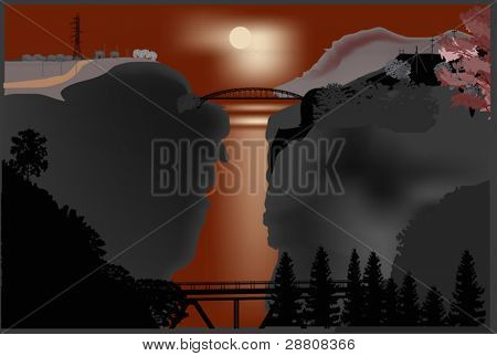 illustration with bridges above precipice