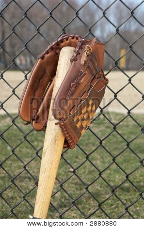 Baseball Glove And Bat