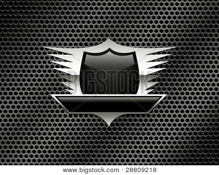 Shield with wings on the metal grill background. Vector Eps8