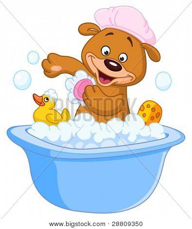 Teddy bear taking a bath