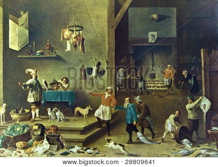 "David Teniers the Younger (1610 - 1690) ""Kitchen"". Reproduction from illustrated Encyclopedia «Art galleries of Europe», Partnership «M. O. Wolf», St. Petersburg - Moscow, Russia, 1901"