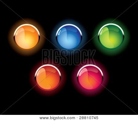 Set of vector glass shone buttons on a black background
