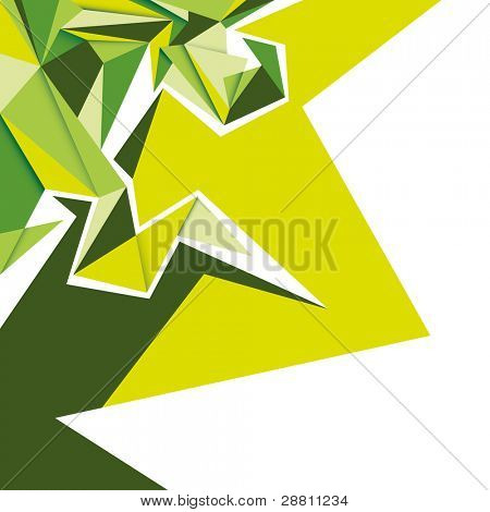 Angular green abstraction. Vector illustration.