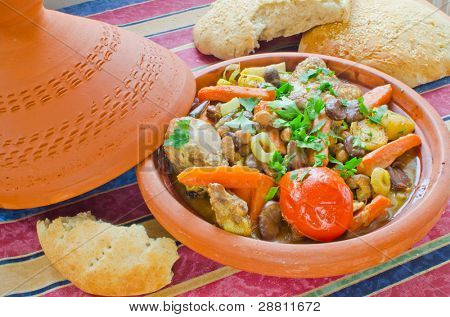 "Moroccan ""seven vegetables"" tagine served with freshly baked homemade sesame bread"