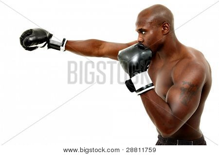 Attractive thirty something black male boxer over white background.