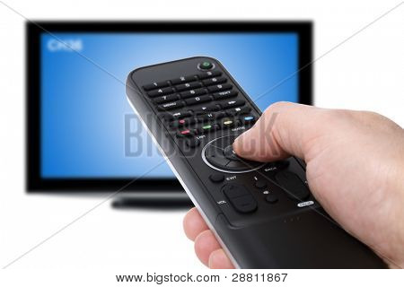 Hand using tv remote control to change channels on defocused television in the background