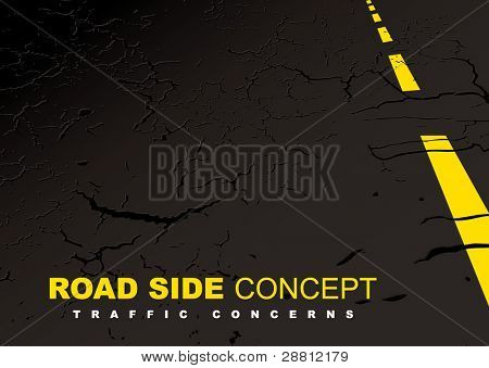 Black strip of road side with yellow line and copy space