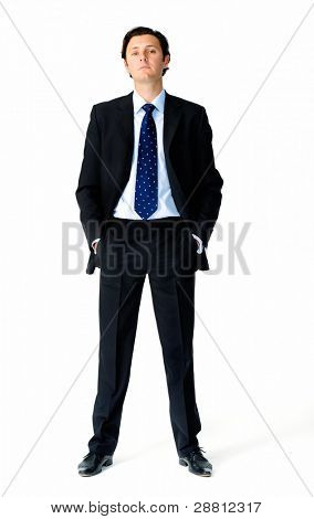 Full length portrait of an arrogant caucasian businessman
