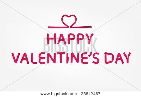 Red paper heart with Happy Valentines day title for holiday design, vector eps10