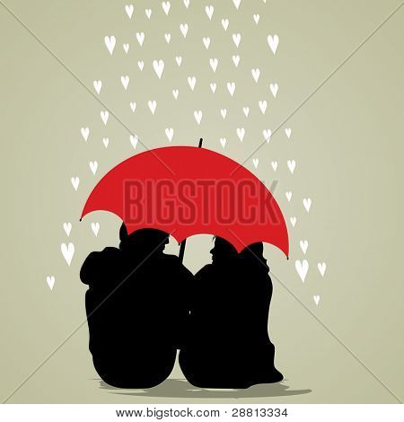 Vector illustration of a couple under umbrella on hearts shapes rainy background for Valentines Day and other occasions.