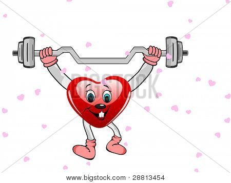 Heart in the form of funny character with the dumbbells on white background for Valentine Day and other occasions.