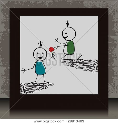 Vector illustration of a photo frame with two cute doodles in love on grungy background for Valentines Day and other occasions.