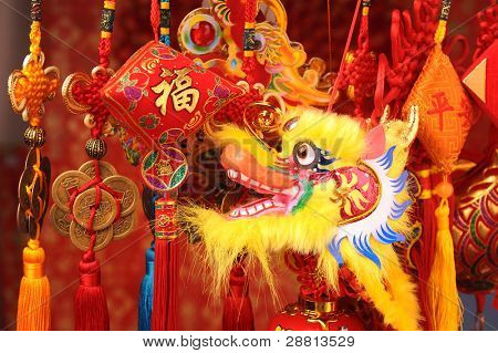 Chinese New Year Decoration--Closeup of Dancing Dragon and knots