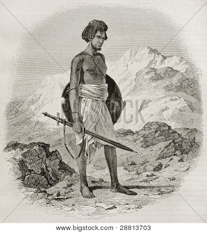 Ababda warrior old engraved portrait (tribe living between the Nile river and the Red sea). Created by Prisse, published on Magasin Pittoresque, Paris, 1845
