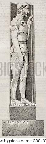 Marathon soldier bas relief old illustration. After Greek statue found in Velanidesa, published on Magasin Pittoresque, Paris, 1845
