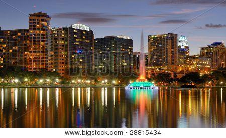 Skyline of Orlando, Florida at Lake Eola.