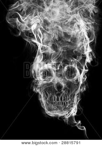 skull of the smoke. Of smoke formed skull dead, as a symbol of the dangers of smoking to health and imminent death of people. The concept