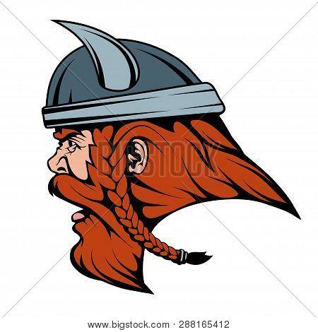 Viking Warrior In Combat Helmet