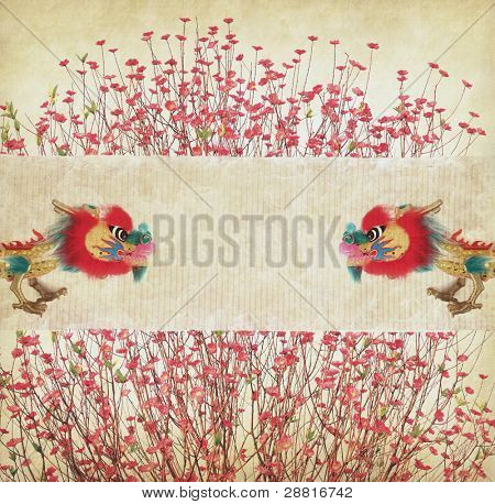 Chinese New Year Decorations--Dancing dragon,Plum Blossom on vintage paper