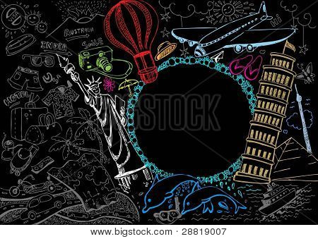 illustration of world famous monument with travel element in doodle style