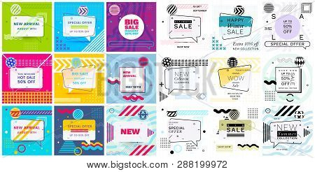 poster of Modern Promotion Square Web Banners For Social Media Mobile Apps. Elegant Sale And Discount Promo Ba